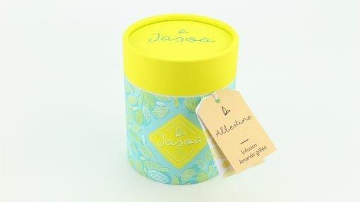 albertine infusion amande grillée 100 grammes boîte cartonnée jasoa jaune turquoise