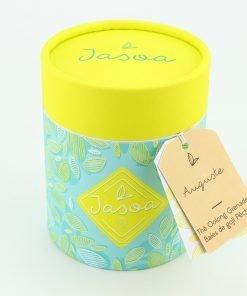 auguste thé oolong grenade baies de goji pêche 90 grammes boîte cartonnée jasoa jaune turquoise