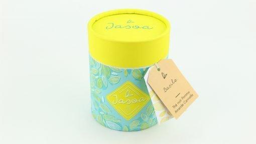 basile thé noir pomme amande cannelle 100 grammes boîte cartonnée jasoa jaune turquoise
