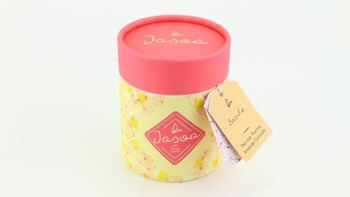 basile thé noir pomme amande cannelle 100 grammes boîte cartonnée jasoa rose jaune