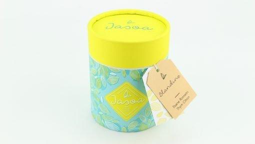 blandine tisane romarin thym citron biologique 90 grammes boîte cartonnée jasoa jaune turquoise