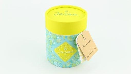 firmin thé pu erh tuo cha 80 grammes boîte cartonnée jasoa jaune turquoise