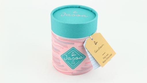 gaston thé noir noix chocolat biologique 80 grammes boîte cartonnée jasoa bleu rose