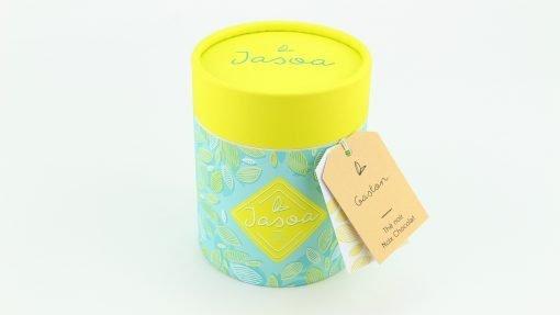 gaston thé noir noix chocolat biologique 80 grammes boîte cartonnée jasoa jaune turquoise
