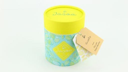 gisèle thé vert fraise menthe biologique 100 grammes boîte cartonnée jasoa jaune turquoise