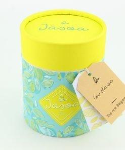 gustave thé noir bergamote biologique 90 grammes boîte cartonnée jasoa jaune turquoise