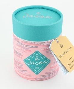 hortense thé vert litchi violette lavande 100 grammes boîte cartonnée jasoa bleu rose