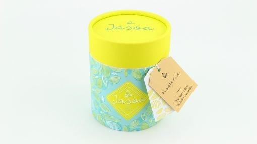 hortense thé vert litchi violette lavande 100 grammes boîte cartonnée jasoa jaune turquoise