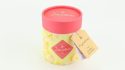 hyploite thé blanc litchi pêche 90 grammes boîte cartonnée jasoa rose jaune