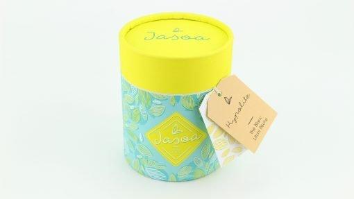 hypolite thé blanc litchi pêche 90 grammes boîte cartonnée jasoa jaune turquoise