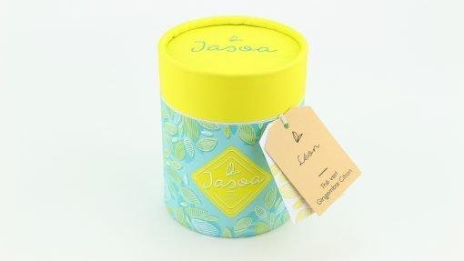 léon thé vert gingembre citron biologique 100 grammes boîte cartonnée jasoa jaune turquoise
