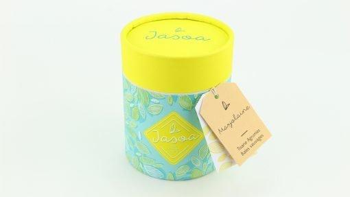 marjolaine tisane agrumes baies sauvages 100 grammes boîte cartonnée jasoa jaune turquoise