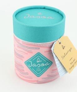 solange thé vert orange cannelle 100 grammes boîte cartonnée jasoa bleu rose