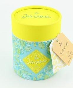 solange thé vert orange cannelle 100 grammes boîte cartonnée jasoa jaune turquoise