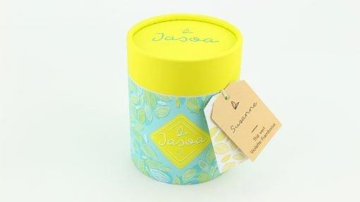 suzanne thé vert violette framboise 100 grammes boîte cartonnée jasoa jaune turquoise