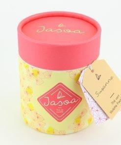 suzanne thé vert violette framboise 100 grammes boîte cartonnée jasoa rose jaune