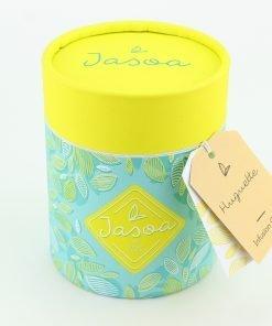 huguette infusion cerise 100 grammes boîte cartonnée jasoa jaune turquoise