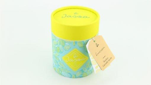 lucien rooibos cannelle vanille 100 grammes boîte cartonnée jasoa jaune turquoise