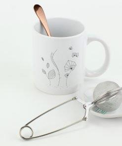 mug 30 centilitres porcelaine édition limitée pince à thé acier inoxydable Ø 5 cm